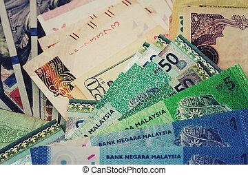 dinero, efectivo, plano de fondo, internacional