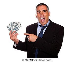 dinero, ejecutivo, ambicioso, tenencia, efectivo