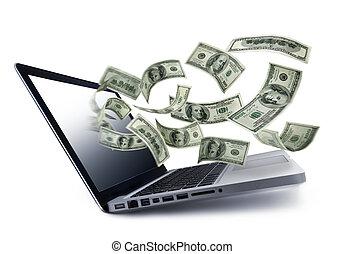 dinero, el verter, afuera, de, un, computadora del cuaderno