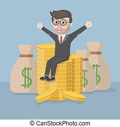 dinero, empresa / negocio, feliz, muy, hombre