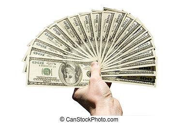 dinero, en, mano