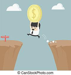 dinero, encima, saltar, tenencia, hombre de negocios, ...