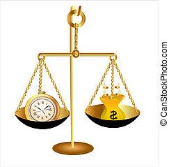 dinero, escalas, dólar, reloj de tiempo