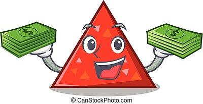 dinero, estilo, mascota, triangel, caricatura