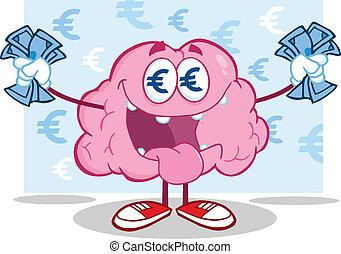 dinero, euro, cerebro, carácter, amoroso