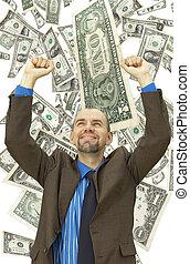 dinero, feliz, plano de fondo, hombre de negocios