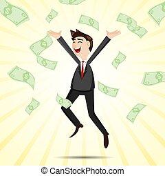dinero, feliz, saltar, caricatura, hombre de negocios