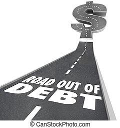 dinero, financiero, deuda, camino, problema, afuera, ayuda