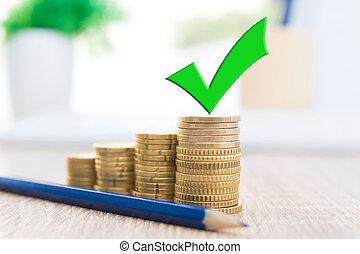 dinero, finanzas, aprobar, apilado, señal, coins, ahorros