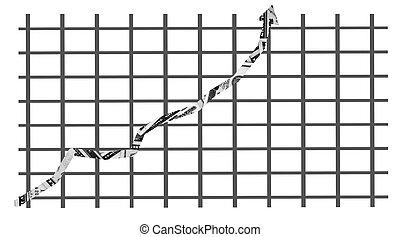 dinero, gráfico, señalar, hacia arriba