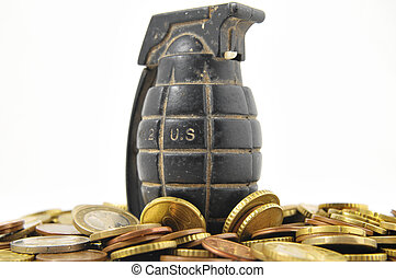 dinero, guerra, concepto