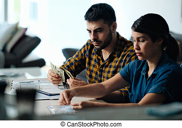dinero, hogar, pareja, cuentas, presupuesto, contar, paga