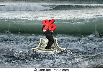 dinero, hombre de negocios, bote de transporte, ondas, porcentaje, venidero, 3d