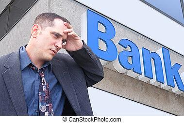 dinero, hombre de negocios, enfatizado, banco