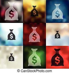 dinero, icono, plano de fondo, confuso