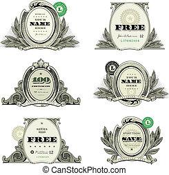 dinero, insignia, logotipo, conjunto, vector