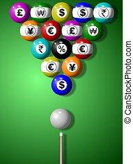 dinero, juego, billiard