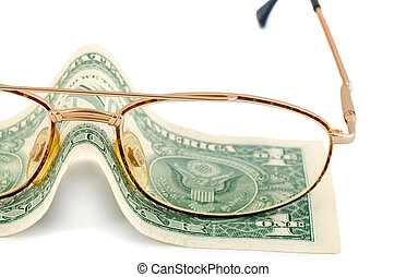 dinero, lentes, dólar, cambio