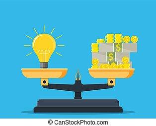 dinero, libra., balance, idea, pila
