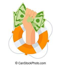 dinero, lifebuoy., protrudes, bolsa mano