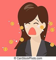 dinero, llanto, lágrimas, mujer, afuera
