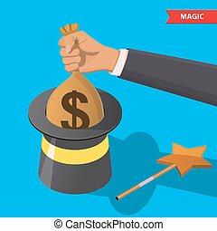 dinero, magia, sombrero, bolsa
