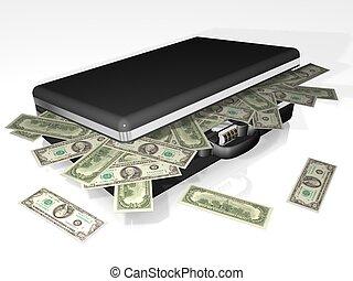dinero, maleta