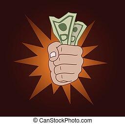 dinero, mano, comp