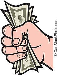dinero, mano