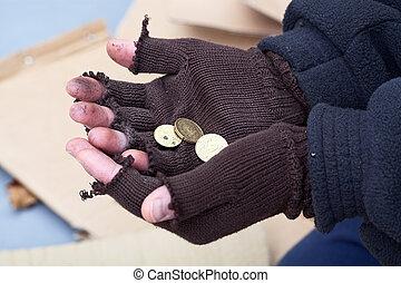 dinero, manos, cubrir, afuera, extensión