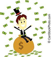 dinero, marca, él, lluvia, rico, hombre