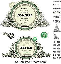 dinero, marco, vector, conjunto, redondo