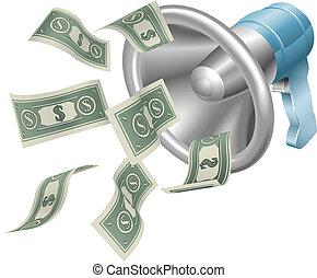dinero, megáfono