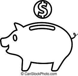 dinero, moneda, cerdito, caja, banco