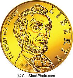 dinero, moneda, oro, dólar, norteamericano, uno, vector