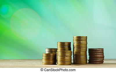dinero, monedas., currency., concept.