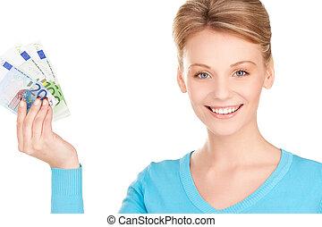 dinero, mujer, encantador, manos
