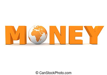 dinero, mundo, naranja