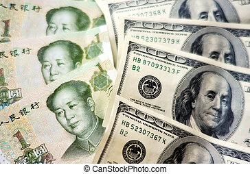 dinero, norteamericano, chino