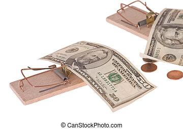dinero, norteamericano, ratonera