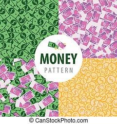 dinero, olla, conjunto, patrones