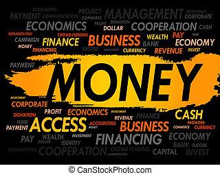 dinero, palabra, nube