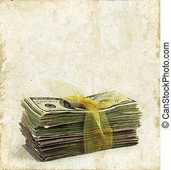 dinero, papel, grunge, pila, plano de fondo