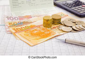 dinero, papel, hongkong, moneda