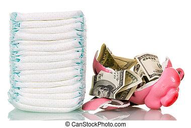 dinero, pila, aislado, cerdito, roto, pañales, white., banco