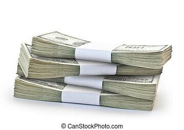 dinero, pila, aislado, grande
