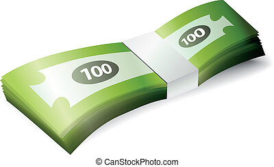 dinero, pila, billete de banco
