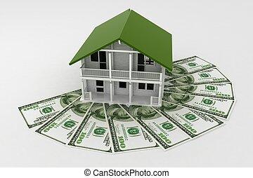 dinero., pila, concepción, casa, crecimiento, 3d, credito, ...