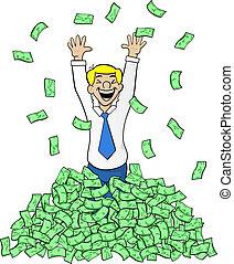 dinero, pila, hombre de negocios