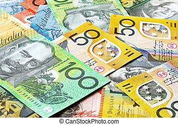 dinero, plano de fondo, australiano